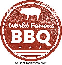 World Famous BBQ - Vintage style BBQ graphic.