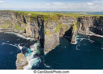 World famous birds eye aerial drone view of the Cliffs of...