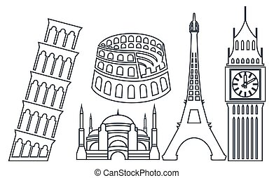 World famous buildings icons