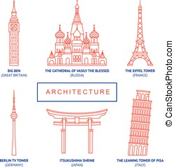 World famous buildings, vector set