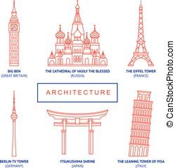 World famous buildings, vector set