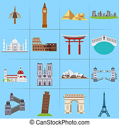 World famous landmarks icons set vector