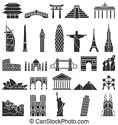 World famous monuments icon set
