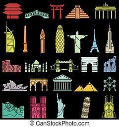 World famous monuments icon set