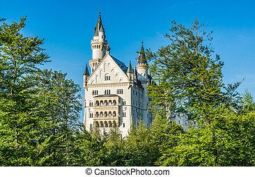 World-famous Neuschwanstein Castle on a sunny day, Fussen, Bavaria, Germany