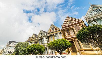 world famous Painted Ladies - San Francisco, CA, USA -...