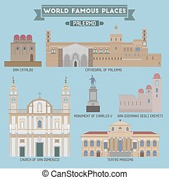 World Famous Place. Italy. Palermo. Geometric icons of buildings