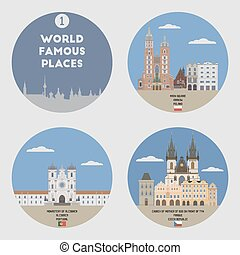 World famous places. Set 1: Krakow, Alcobaca, Prague