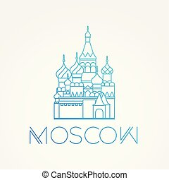 World famous St. Basil Cathedral. Greatest Landmarks of europe.. Linear vector icon for Moscow Russia.