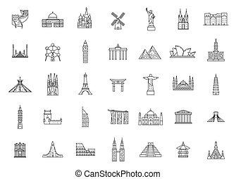 World famous travel and tourism landmarks.