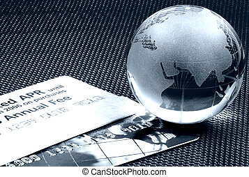 World Finance 2 - Credit Cards and a Globe.