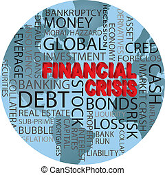 World Financial Crisis 3D in Red Word Cloud Illustration in World Globe Background