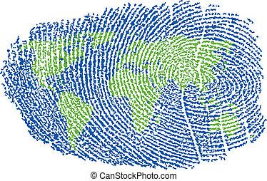 World Fingerprint - World Map represented in a Fingerprint