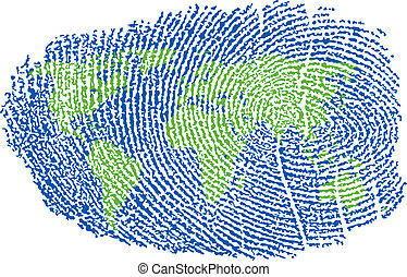 World Map represented in a Fingerprint