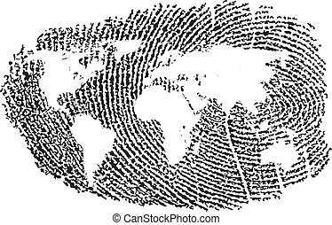 World Fingerprint - World Map represented in a Fingerprint