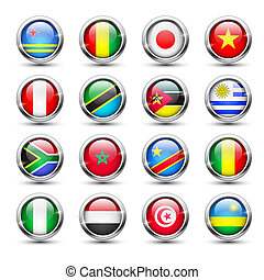 World flag glass icons - Set of world flag glass icons,...