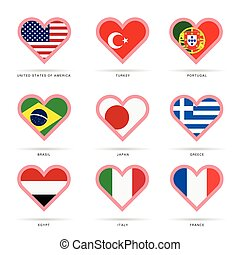 world flag in heart illustration - world flag in heart set...