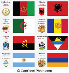 world flags of Afghanistan, Albania, Algeria, Andorra, Angola, Antigua and Barbuda, Argentina and Armenia, with capitals, geographic coordinates and coat of arms, vector art illustration