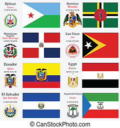 world flags and capitals set 7 - world flags of Djibouti,...