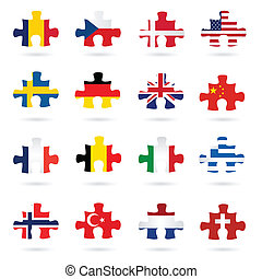 Illustrated puzzle pieces as world flags isolated