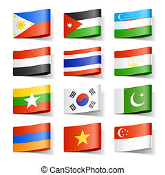 Vector illustration of world flags. Asia.