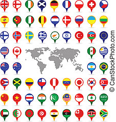 world flags - set of world flags on map pins