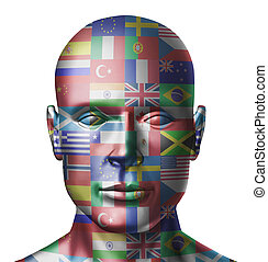 World flags face representing global countries from around the earth on a human head showing the concept of international business and politics.