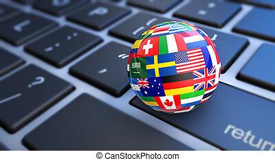 World Flags Globe Computer Keyboard