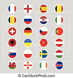 World flags icons set vector