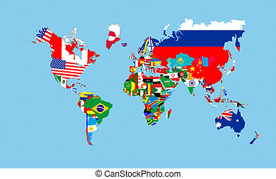 Flags and world map horizontal image of a four country flags lying world countries flags map symbols complete illustration gumiabroncs Choice Image