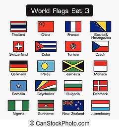 World flags set 3 . simple style and flat design . thick outline .