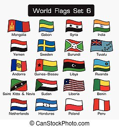 World flags set 6 . simple style and flat design . thick outline .