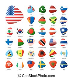 World flags set vector illustration