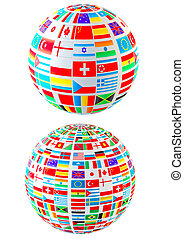 World flags - Set- world flags spheres. Isolated over white