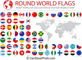 World flags vector collection. 36 high quality clean round icons