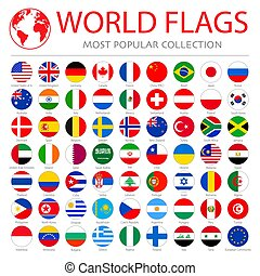 World flags vector collection. 63 high quality clean round icons