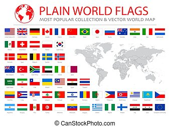 World flags vector graphics with world map