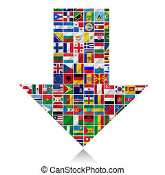world flags with arrow
