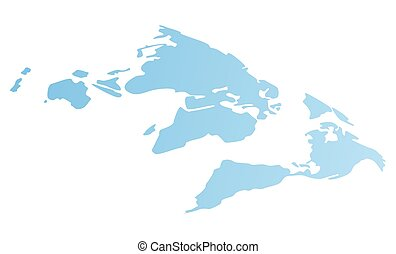 World flat blue map. Image of continents. Earth with mainlands. Flat gradient vector illustration