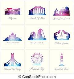 World Fomous landmarks icons set design vector