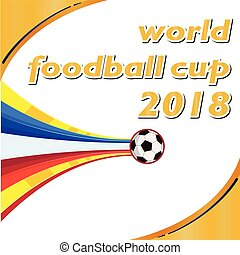 World Football Cup 2018 Flying Socer Ball Orange White Background Vector Image