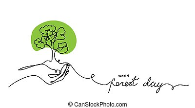 World forest day vector sketch, background.