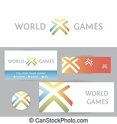 World games. Template logo and corporate identity for digital ga