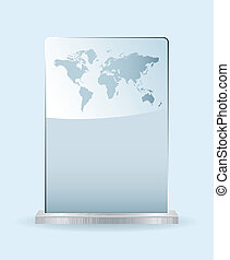 World glass award with spce for your own text and metal base
