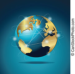 World Global Commerce communication networking logo vector background design