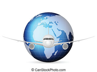 world globe and airplane