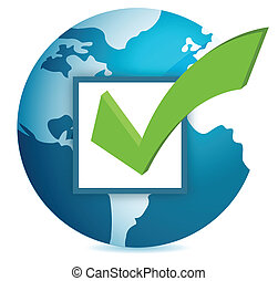World globe and checkmark