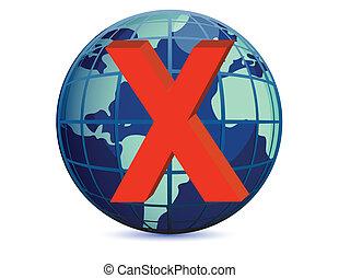 World globe and x mark