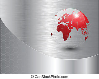 world globe background with polished metal texture. EPS10...