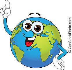 World globe cartoon - Cartoon world globe pointing with his ...
